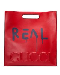 Gucci   Red Ghost Large Leather Tote Bag   Lyst