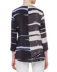Akris Punto - Blue 3/4-sleeve Round-neck Blouse - Lyst