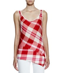 Stella McCartney Red Sleeveless Solid-check Top