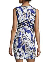 Roberto Cavalli - Blue Sleeveless Lace-up Feather-print Dress - Lyst