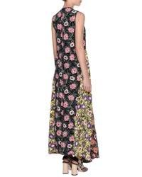 Marni - Black Colorblock Floral-print Patio Dress - Lyst