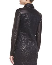 Tom Ford - Black Lace & Leather Western Shirt - Lyst