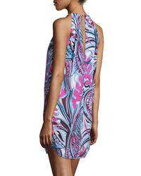 Emilio Pucci - Blue Sleeveless Halter-neck Printed Dress - Lyst
