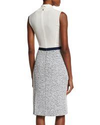 Oscar de la Renta - Multicolor Sleeveless Tie-neck Combo Sheath Dress - Lyst