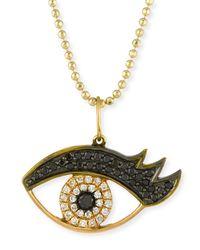 Sydney Evan | Metallic 14k Gold Eyelash Eye Pendant Necklace With Diamonds | Lyst