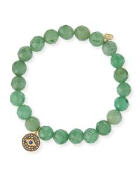 Sydney Evan | Green 6Mm Faceted Emerald Beaded Bracelet With Mini White Gold Pave Diamond Disc Charm (Made To Order) | Lyst