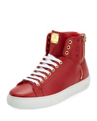 MCM | Red Collection Leather High-top Sneaker for Men | Lyst