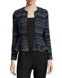 Rebecca Taylor | Blue Metallic Tweed Peplum Jacket | Lyst