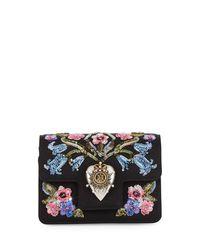 Alexander McQueen | Black Sequined Heart Silk Clutch Bag | Lyst