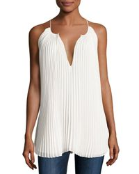 Elizabeth and James | White Nina Pleated Chiffon Tie-front Top | Lyst