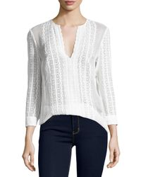 Elizabeth and James | White Riley Embroidered Silk Blouse | Lyst