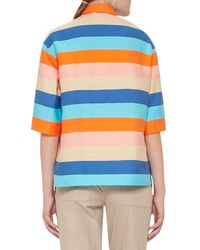 Akris Punto - Multicolor Striped Half-sleeve Cropped Blouse - Lyst