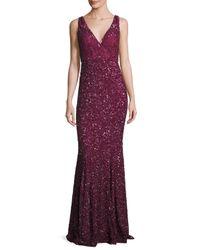 Rachel Gilbert | Purple Ombre Sequined V-neck Gown | Lyst