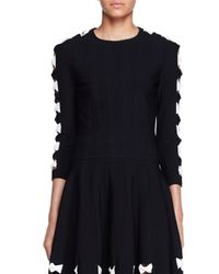Alexander McQueen | Black Knit Bow Sweater With Cutouts | Lyst