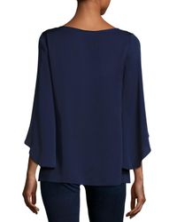 MILLY Blue Butterfly-sleeve Stretch-silk Blouse
