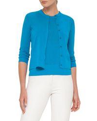 Akris | Blue Knit Bracelet-sleeve Cardigan | Lyst