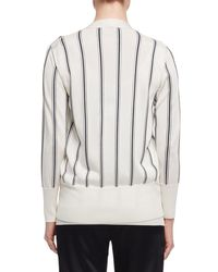 Lanvin | White Vertical-stripe V-neck Cardigan | Lyst