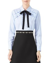 Gucci | Blue Long-sleeve Oxford Stripe Blouse With Grosgrain Tie | Lyst