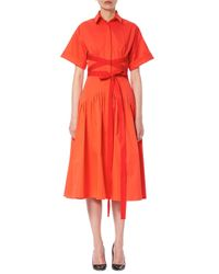 Carolina Herrera | Red Short-sleeve Wrap Shirtdress | Lyst