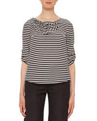 Akris Punto - Black Striped Wave-pleated 3/4-sleeve Blouse - Lyst
