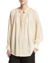 Vince | White Shirred Handstitch Silk Blouse | Lyst