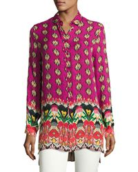 Etro | Multicolor Voile Ikat-print Silk Tunic | Lyst