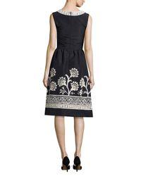 Oscar de la Renta - Blue Embroidered Silk Faille Cocktail Dress - Lyst