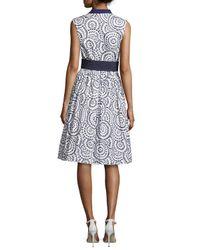 Oscar de la Renta - Blue Sleeveless Cotton Eyelet A-line Dress - Lyst