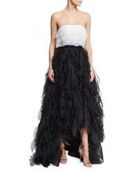 Oscar de la Renta | Black Two-tone Strapless Organza Ball Gown | Lyst