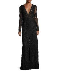 Oscar de la Renta   Black Beaded Long-sleeve V-neck Gown   Lyst