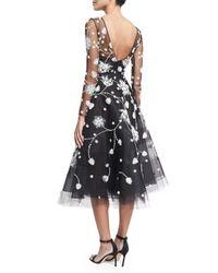 Oscar de la Renta - Black Embroidered Illusion Tulle Midi Dress - Lyst