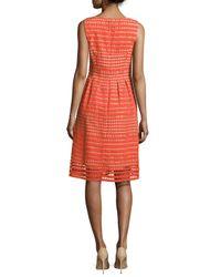 Lela Rose - Red Felicia Sleeveless Windowpane Lace Dress - Lyst