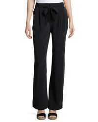 Joie | Black Gaynell Dot-print Silk Paperbag Flare-leg Pants | Lyst
