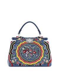 Fendi | Blue Peekaboo Mini Micro Circle Embroidered Silk Satchel Tote Bag | Lyst