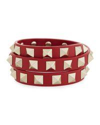 Valentino | Red Triple-wrap Leather Bracelet | Lyst