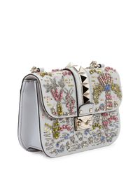 Valentino - Blue Beaded Small Lock Shoulder Bag - Lyst