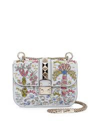 Valentino | Blue Beaded Small Lock Shoulder Bag | Lyst