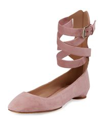Valentino | Pink Plum Suede Lace-up Ballerina Flat | Lyst