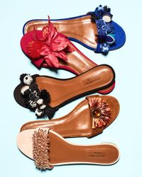 Aquazzura | Multicolor Monaco Beaded Slide Sandal | Lyst