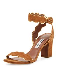 Tabitha Simmons   Brown Cloud Suede Ankle-wrap 75mm Sandal   Lyst