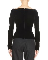 Saint Laurent - Black Velvet Sweetheart Long-sleeve Top - Lyst
