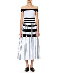 Carolina Herrera   Black Striped Off-the-shoulder Midi Dress   Lyst