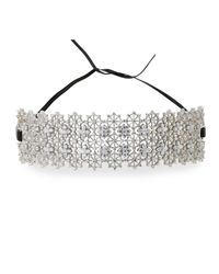 Fallon - Multicolor Monarch Chantilly Leather Xl Choker Necklace With Crystals - Lyst