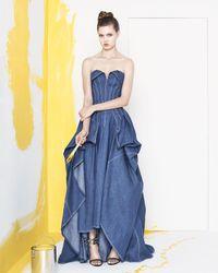 Carolina Herrera - Blue Strapless Denim Ball Gown - Lyst