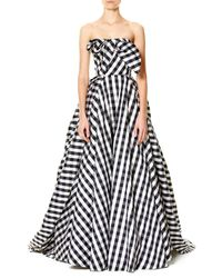 Carolina Herrera | Black Strapless Gingham Ball Gown | Lyst