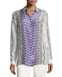 Etro | Purple Abstract Print Sheer Shirt | Lyst