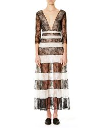 Carolina Herrera | Multicolor Striped Lace 3/4-sleeve Gown | Lyst
