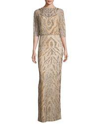 Rachel Gilbert | Metallic Beaded Half-sleeve Capelet Gown | Lyst