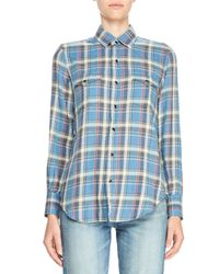 Saint Laurent - Blue Plaid Flannel Shirt - Lyst