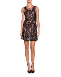 Giorgio Armani | Black Sleeveless Sheer Leaf-embroidered Dress | Lyst